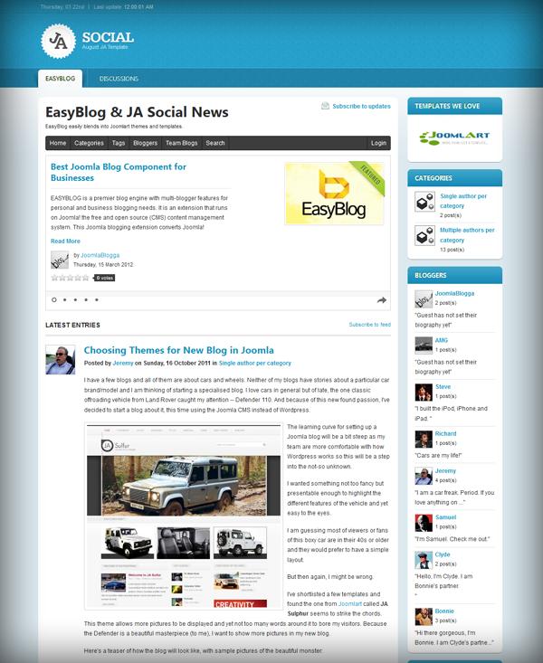 JA Social & EasyBlog: Community Blogging defined