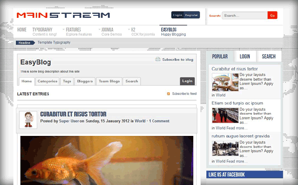 Mainstream: New Joomla Template by ThemeXpert supports EasyBlog