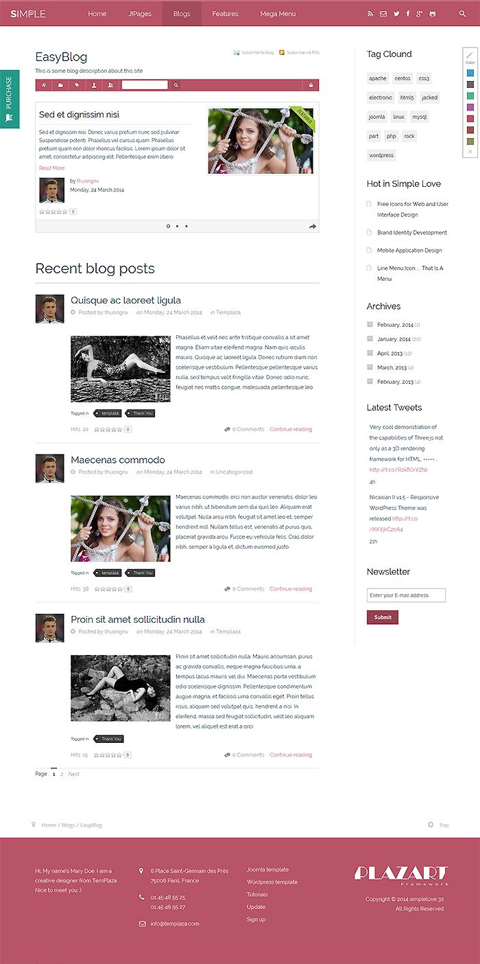 TemPlaza Partnership & Joomla Templates for EasyBlog