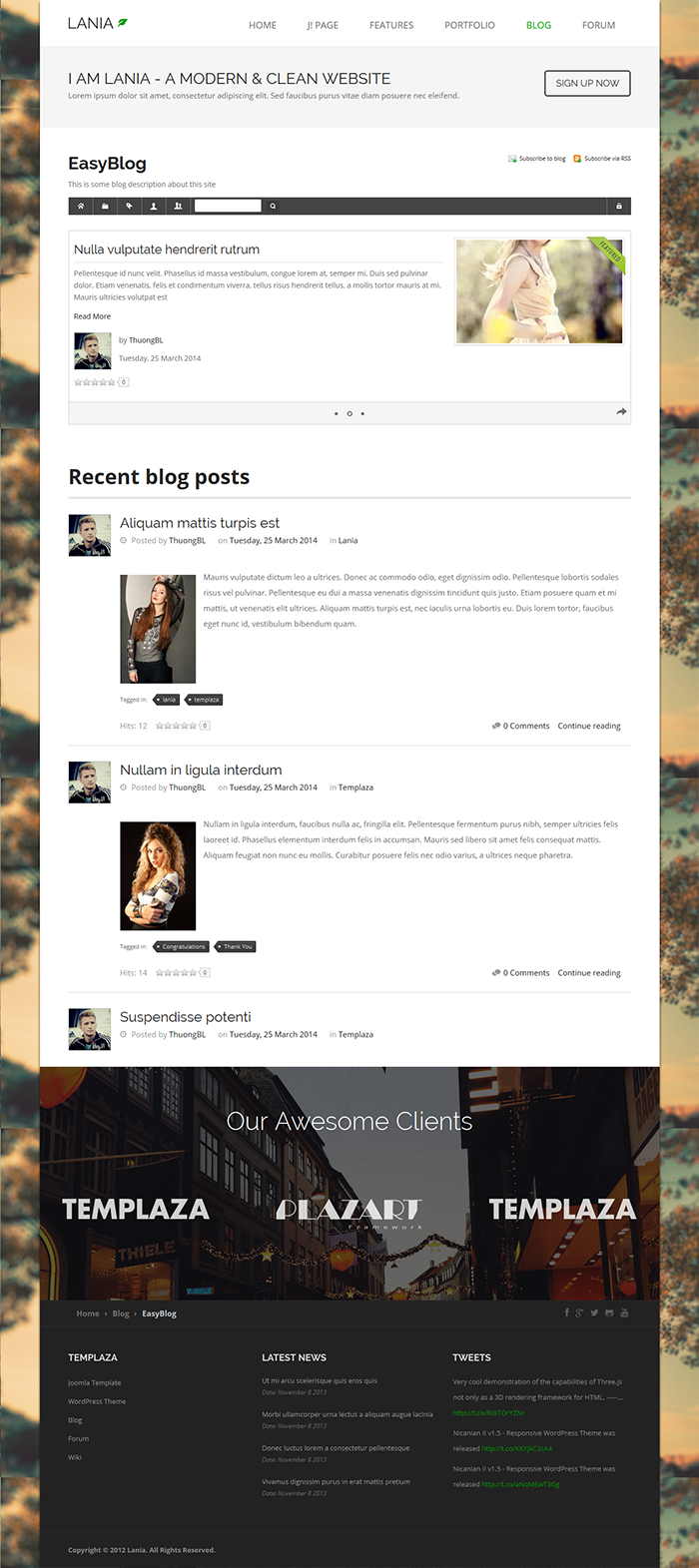 Lania Joomla Template for EasyBlog