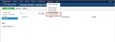 Access Joomla Language Manager