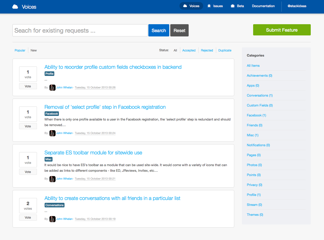 Voices for EasySocial, the Joomla Social Network Extension