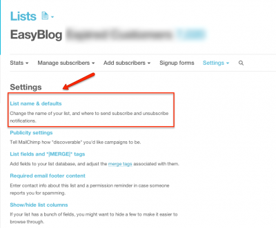 MailChimp List Name and Defaults