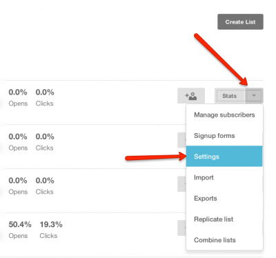 Stat and Setting in MailChimp