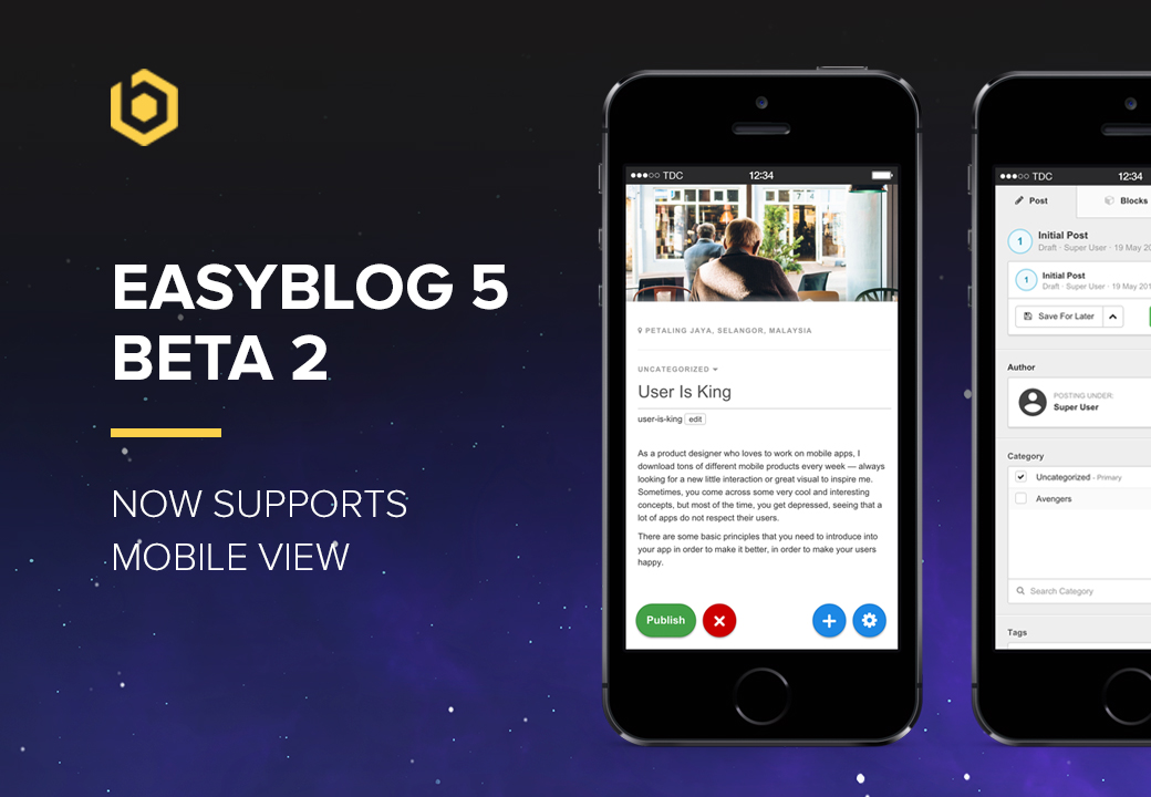 EasyBlog 5 Beta 2 Comes With Mobile View