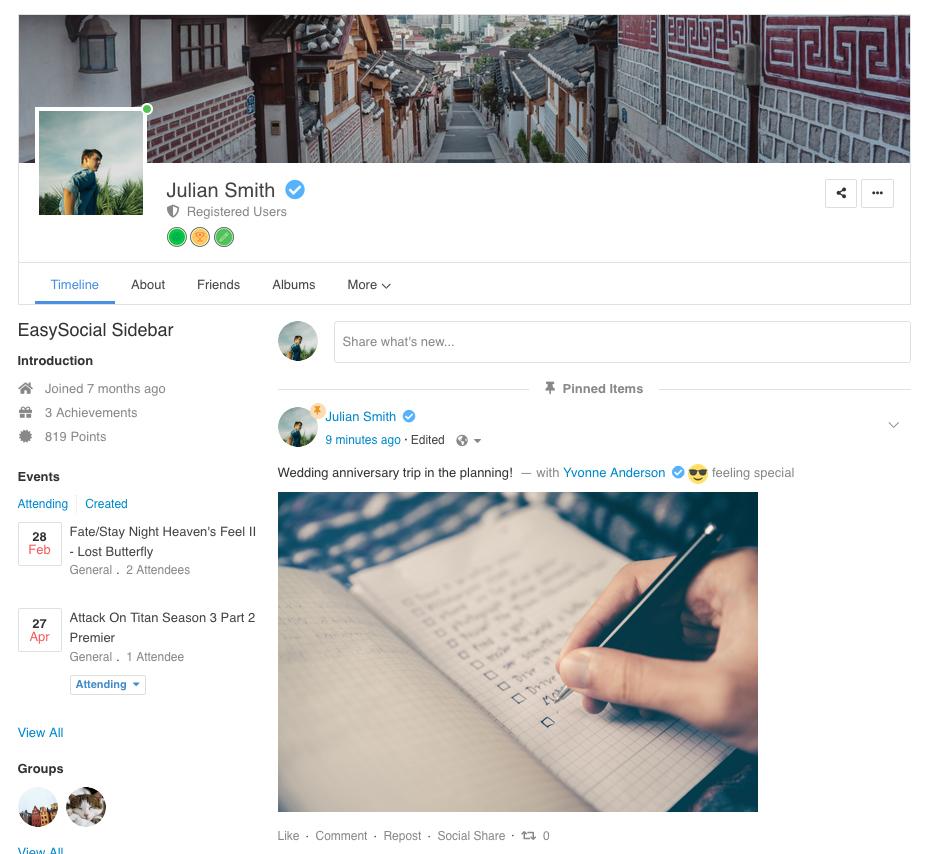 EasySocial - Profile Intro