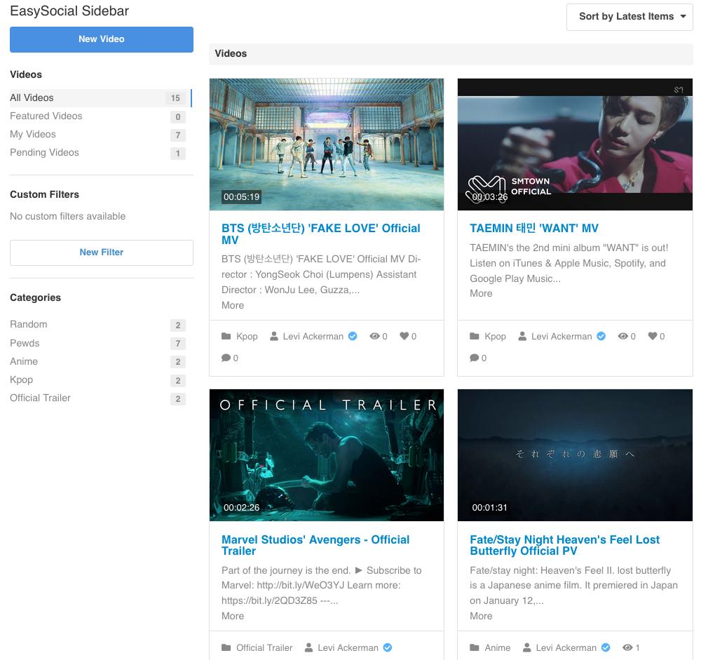 EasySocial - Video Categories