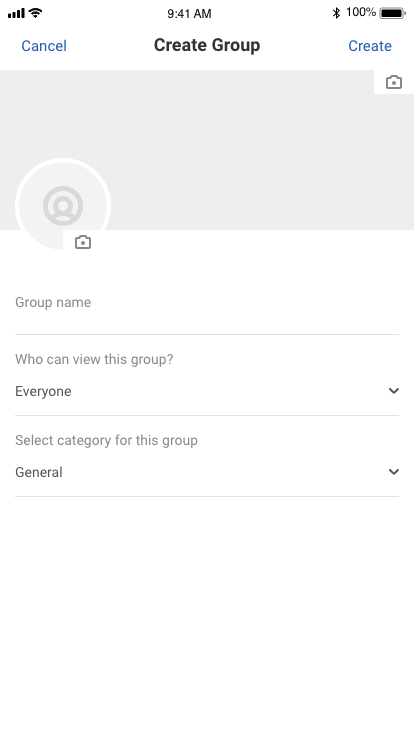 EasySocial Native Create Group Screen