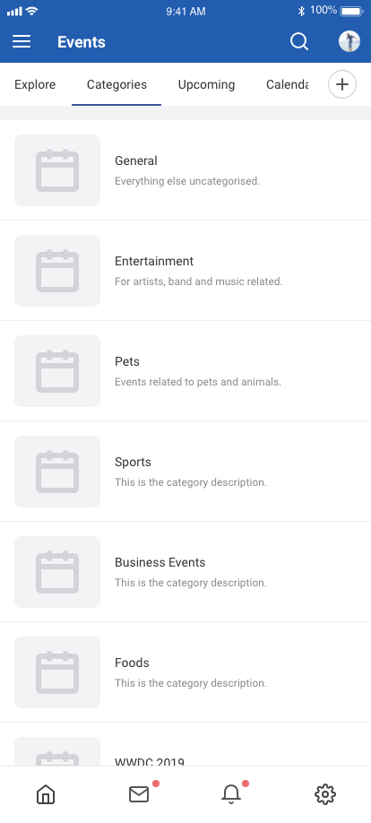 EasySocial Native Event Categories Screen