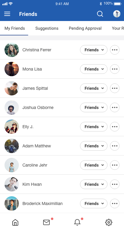 EasySocial Native Friend Listing Screen