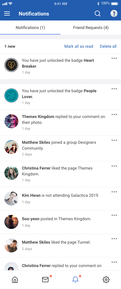 EasySocial Native Notifications Screen