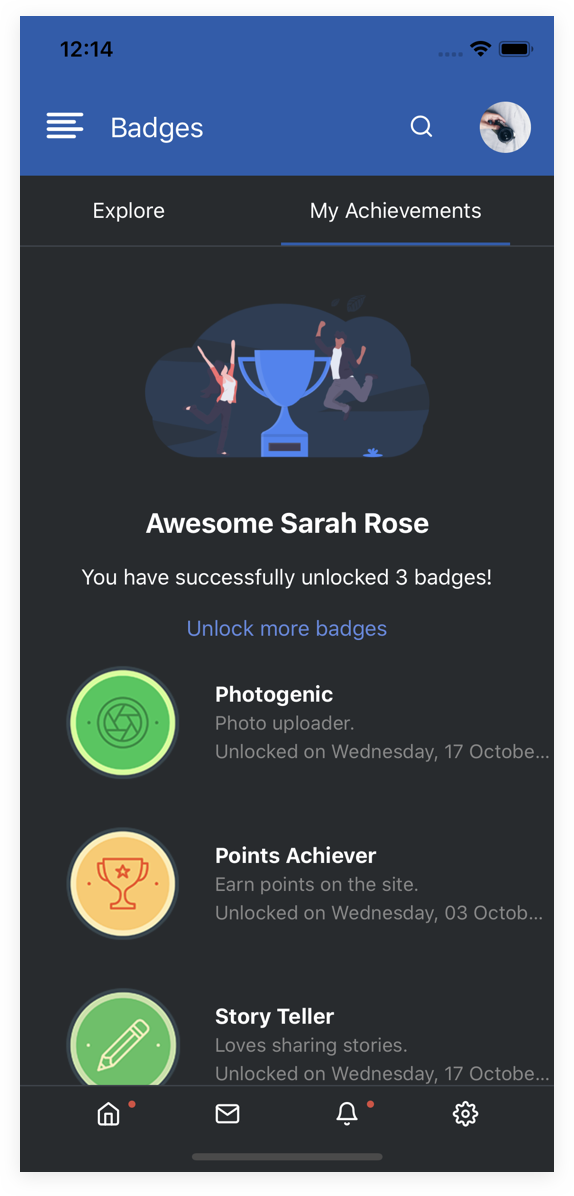 EasySocial Native Preview Dark Badges
