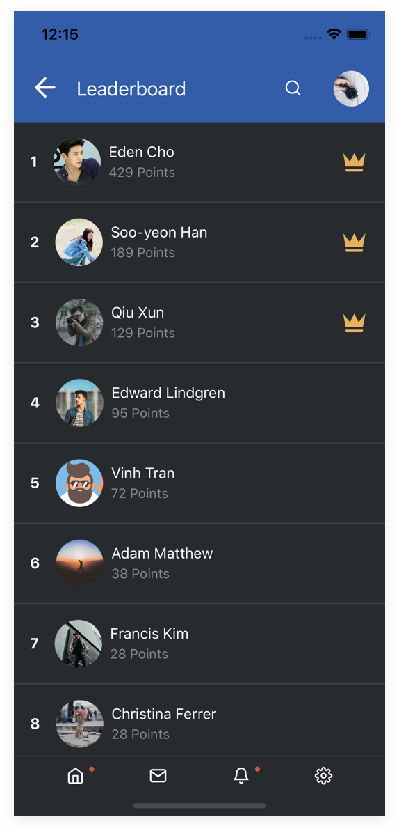 EasySocial Native Preview Dark Leaderboard