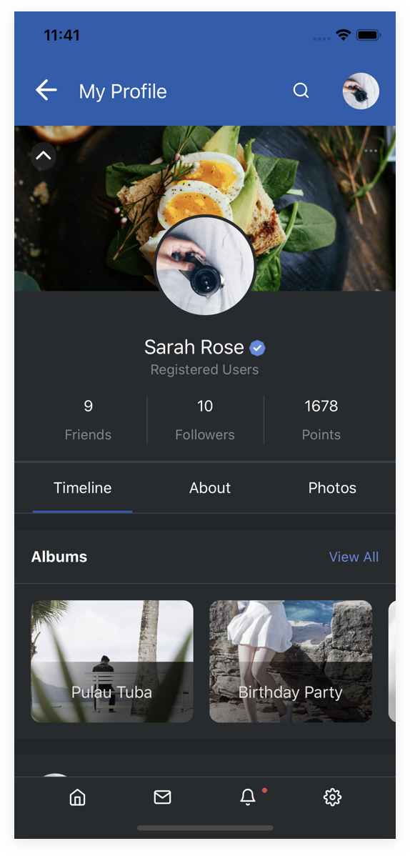 EasySocial Native Preview Dark Profile