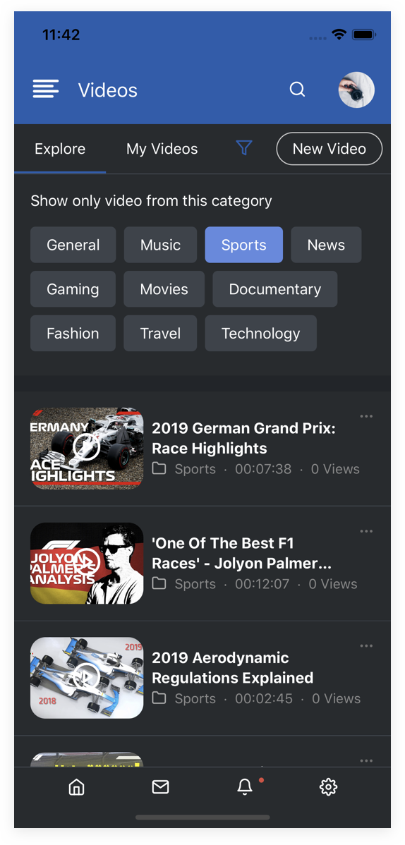 EasySocial Native Preview Dark Video Category
