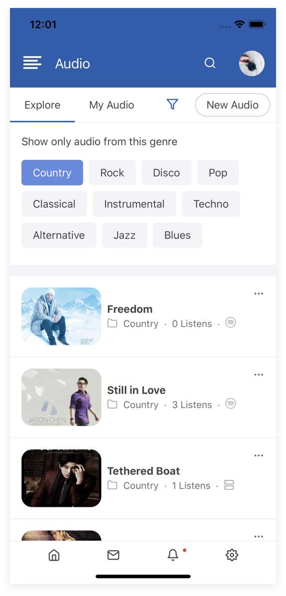 EasySocial Native Preview Light Audio Category