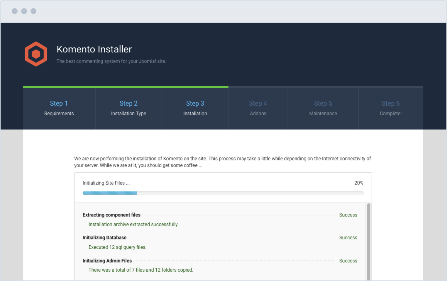 Komento Installation Screen for Joomla!