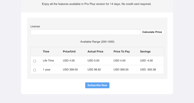 PayPlans Advance Pricing Screenshot